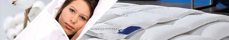 Banner voor boehmerwald dekbedden met daarop een vrouw, katoen en dekbedden