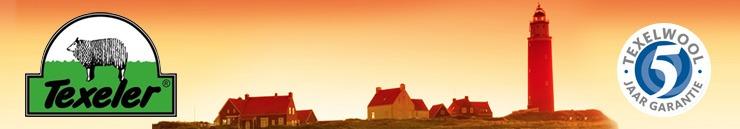 Banner voor Texeler dekbedden met daarop het logo de vuurtoren van Texel