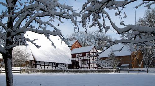 Huizen in de sneeuw