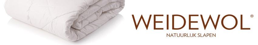 Banner voor Weidewol dekbedden met daarop het logo en een Weidewol dekbed